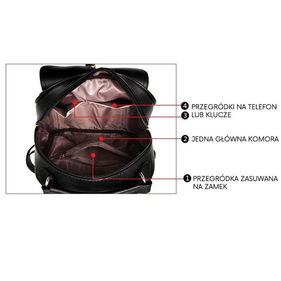 Czarny plecak damski z ozdobną kokardką