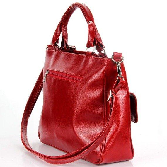 DAN-A T88 czerwona torebka skórzana damska kuferek