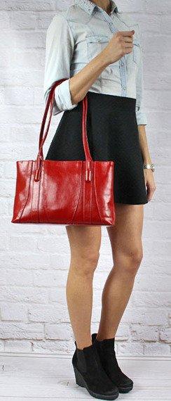 DAN-A T98 czerwona torebka skórzana klasyczna