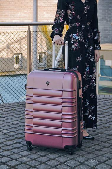 Duża walizka podróżna STL838 metaliczny róż