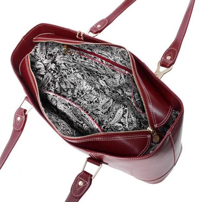 Ekskluzywna skórzana torebka damska czerwona Mcklein Arya