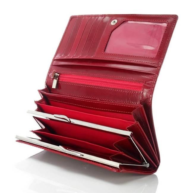 Ekskluzywny skórzany portfel damski w pudełku GA40 czarny