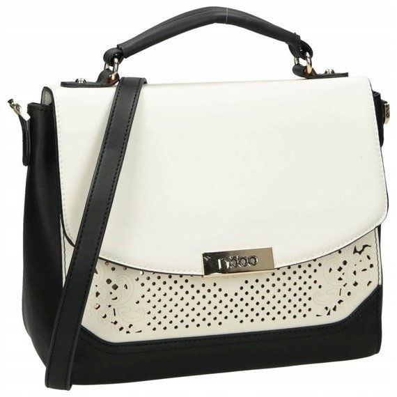 Elegancka torebka ażurowa NOBO czarno-biała I1920