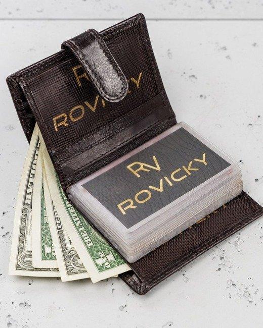Etui na karty brązowe Rovicky N1907L-RVTK BROWN