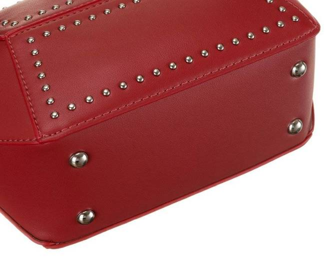 Geometryczna listonoszka czerwona zdobiona ćwiekami David Jones CM5605 RED