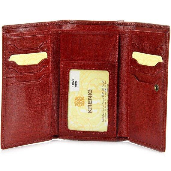 KRENIG El Dorado 11022 - EKSKLUZYWNY czerwony SKÓRZANY PORTFEL DAMSKI w pudełku