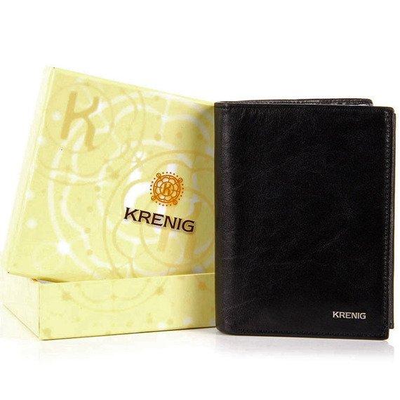 KRENIG El Dorado 11029 - ESKLUZYWNY czarny SKÓRZANY PORTFEL MĘSKI w pudełku