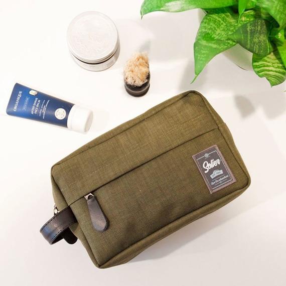 Kosmetyczka męska materiałowa Solier SK03 zielona