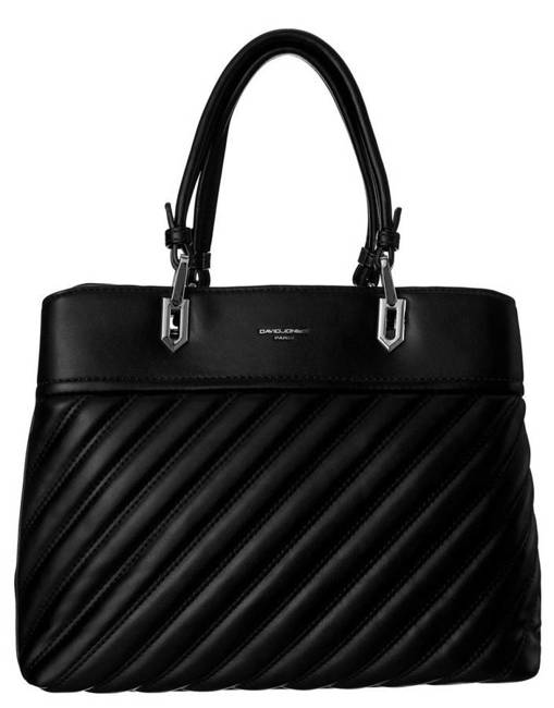 Kuferek czarny z pikowanym frontem David Jones CM6215 BLACK