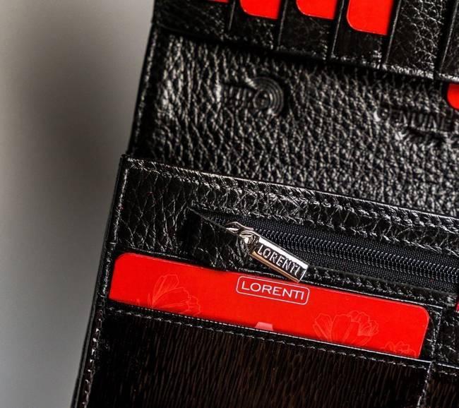 Lakierowany portfel czarny Lorenti  72037-SH NAPIS BLACK