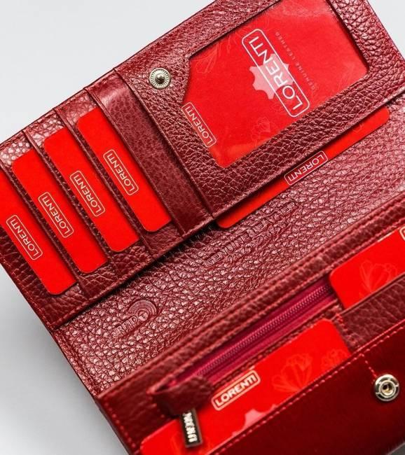 Lakierowany portfel czerwony Lorenti 72037-SH NAPIS RED