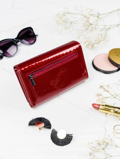 Lakierowany portfel czerwony Lorenti 76112-RS-RFID RED