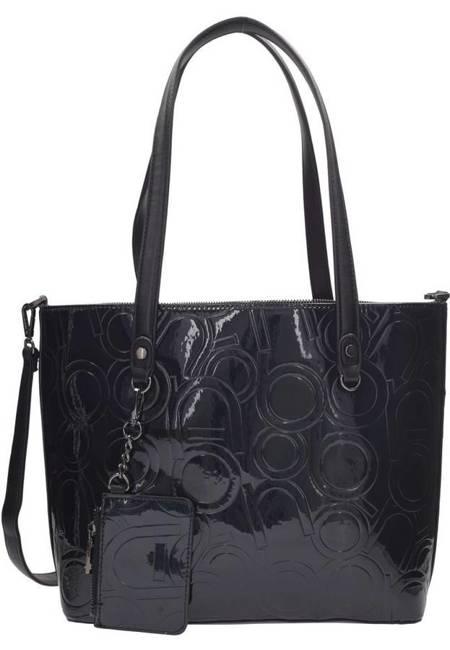 Lakierowany shopper damski czarny Nobo NBAG-K4250-C020