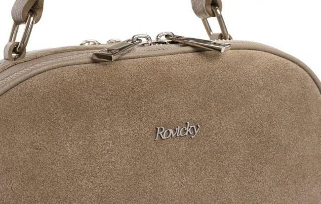 Listonoszka damska kuferek skórzany Rovicky TWR-82 beżowa