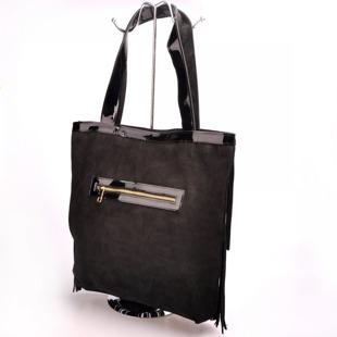 MADE IN ITALY Spalla 227 włoska torebka skórzana z frędzlami czarna