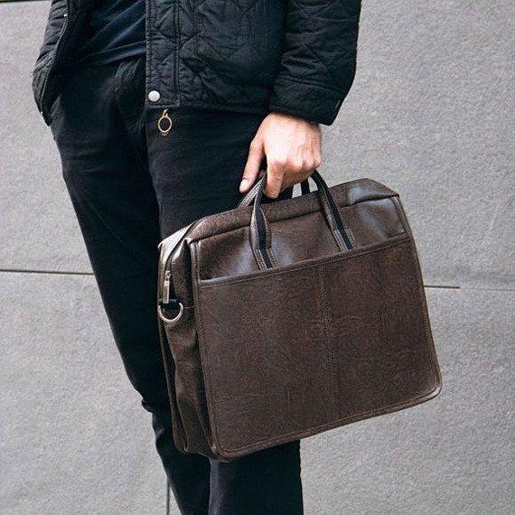Męska torba na ramię, torba na laptop SOLIER S13 ciemnobrązowa