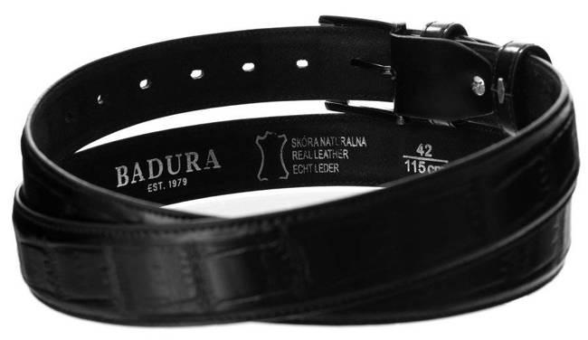 Pasek męski czarny croco Badura PBJ-01-E