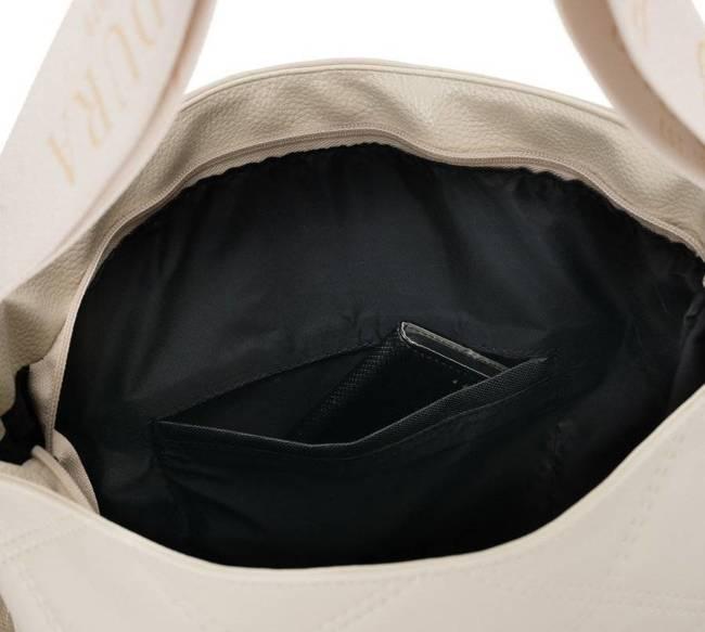 Pikowany shopper kwadratowy beżowy Badura T_D207PIK_BE
