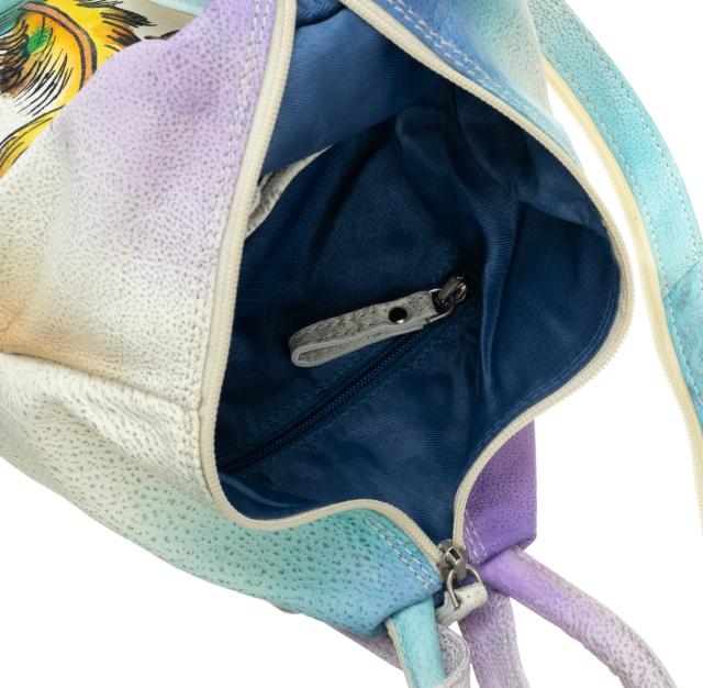 Plecak damski beżowy  ręcznie malowany w piórka LB-1902-ART-10 BEIGE