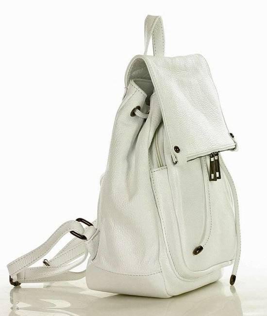 Plecak damski biały GENUINE LEATHER pl32j