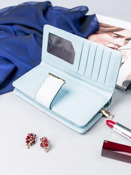 Pojemny portfel damski Milano Design niebieski