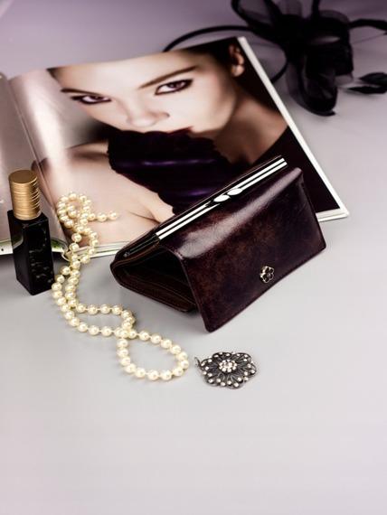 Pojemny portfel damski brązowy PX23-2