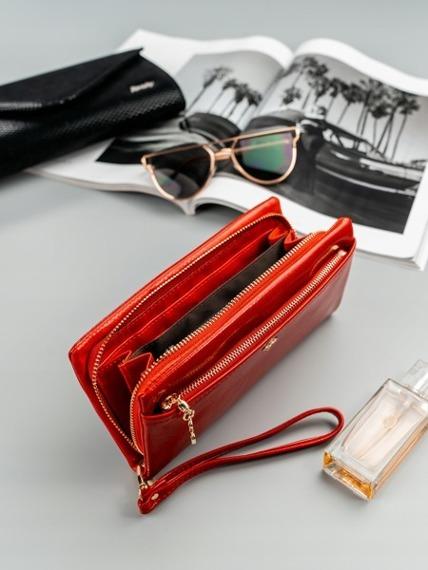 Pojemny portfel damski czerwony Milano Design