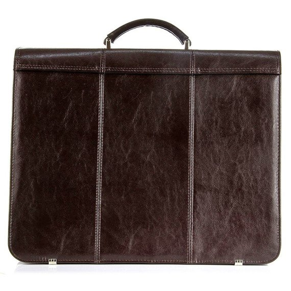 Polska skórzana teczka aktówka męska na laptopa elegancka biznesowa ciemnobrązowa G1