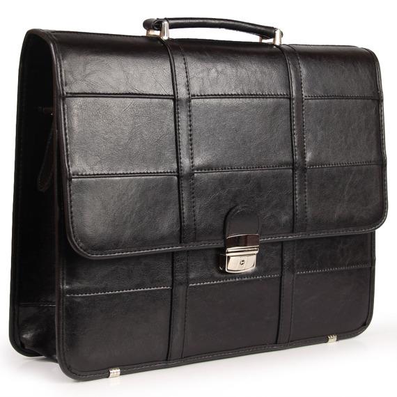 Polska skórzana teczka męska elegancka biznesowa czarna G14