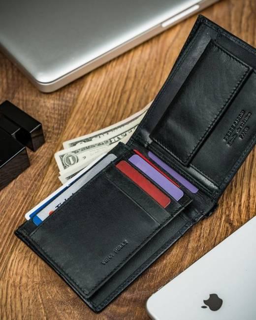 Portfel czarny z czerwoną wstawką Pierre Cardin 8806 VO02