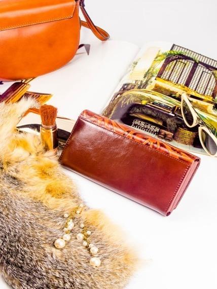 Portfel damski lakierowany brązowy Cavaldi