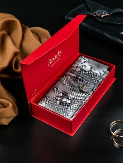 Portfel damski skórzany RFID Rovicky czarny szary