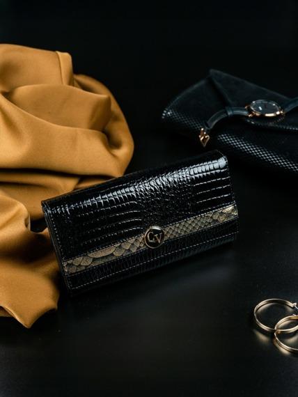 Portfel damski skórzany lakierowany czarny Cavaldi H22-2