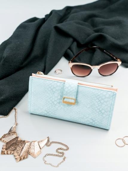 Portfel damski slim wallet niebieski Milano Design K1211