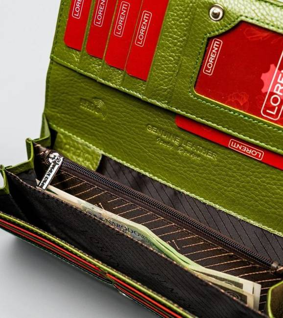 Portfel damski zielony Lorenti 72031-SH NAPIS GREEN
