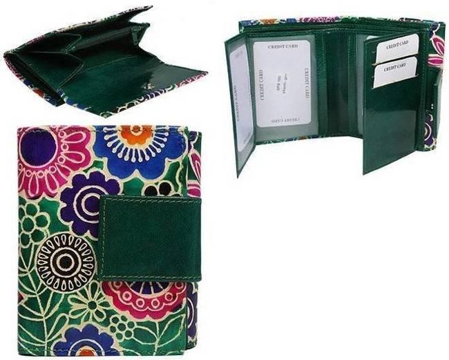 Portfel damski zielony kwiaty SPG-100-SHANTI GREEN
