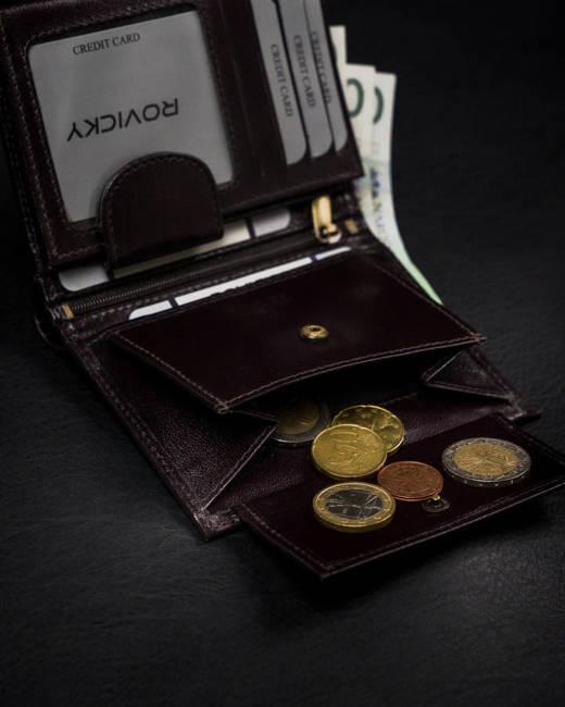 Portfel męski brązowy z czarną wstawką Rovicky 1502-03-BOR-1157 BRO