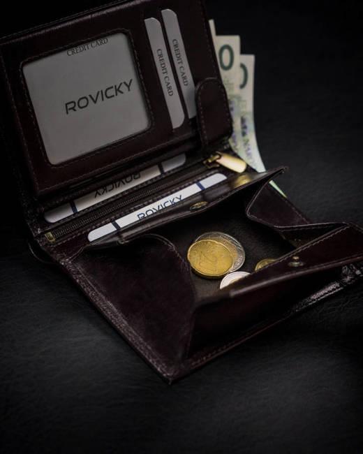Portfel męski brązowy z czarną wstawką Rovicky 1537-03-BOR-1249 BRO