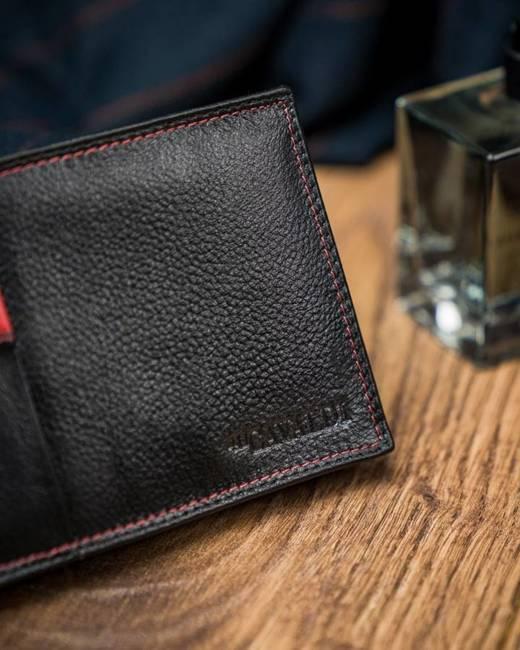Portfel męski czarno-czerwony N992-SCV BLACK+RED