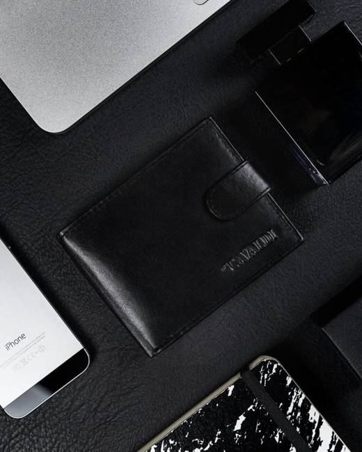 Portfel męski czarny Cavaldi N0035L-SCR-CAV BLACK