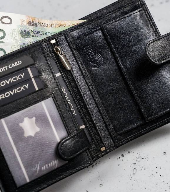 Portfel męski czarny Cavaldi  N4L-NAD-BOX-1472 BLA