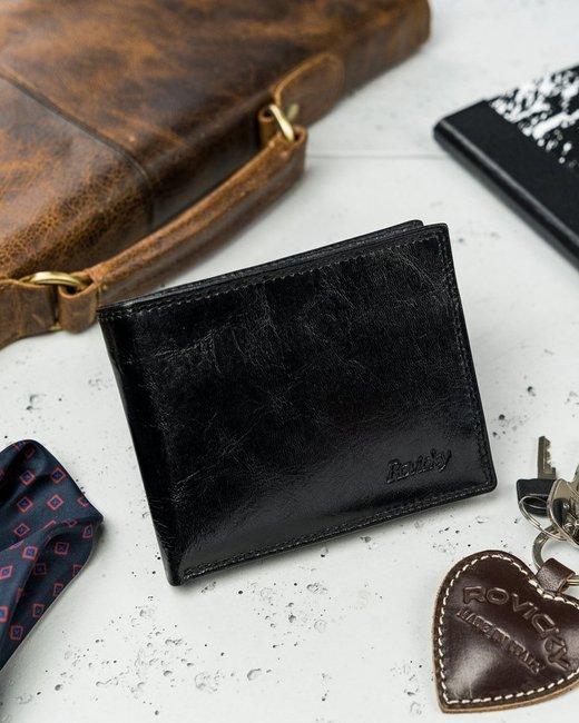Portfel męski czarny Rovicky N1905-RVTK BLACK
