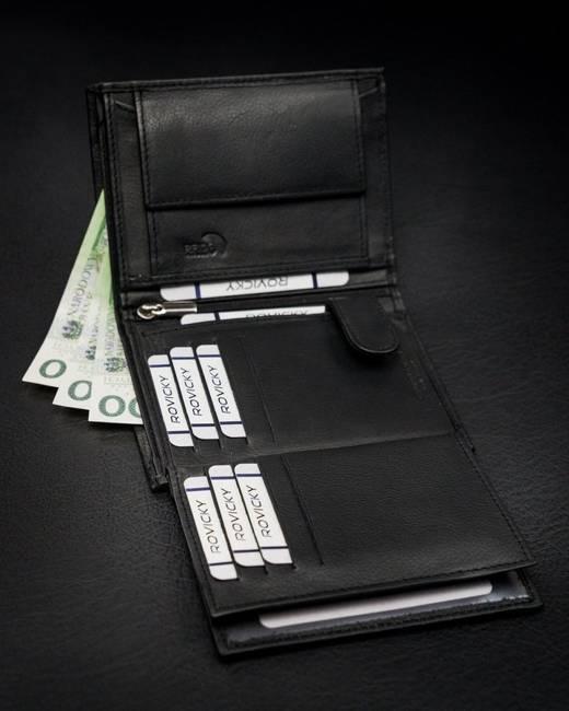 Portfel męski czarny Rovicky N4-PZ-CCR-RFID-BLACK