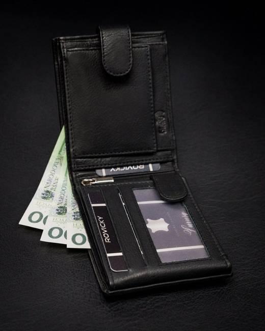 Portfel męski czarny Rovicky N61L-PZ-CCR-RFID-BLA