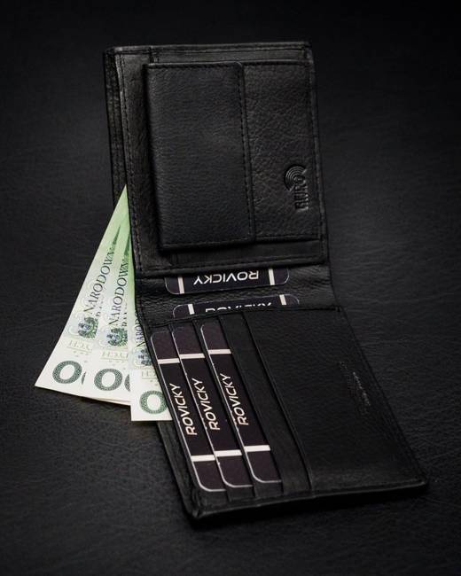 Portfel męski czarny Rovicky N8824-PZ-CCR-RFID-BL