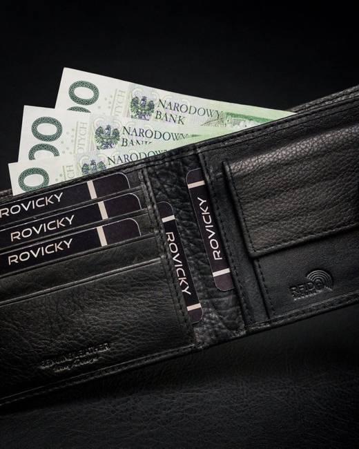 Portfel męski czarny Rovicky N8824L-PZ-CCR-RFID-B