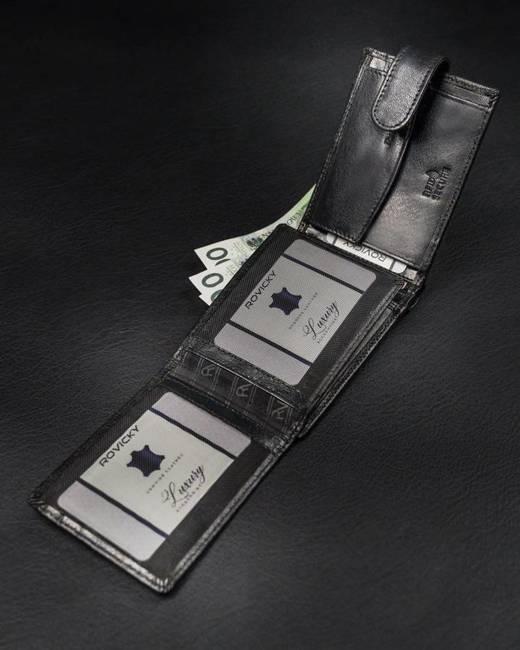 Portfel męski czarny Rovicky RV-76803286-1-718-BL