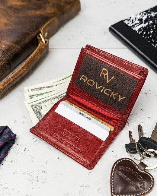 Portfel męski czerwony Rovicky N1911-RVTK RED