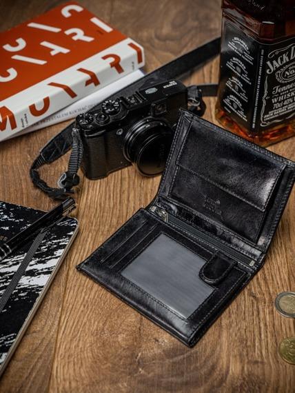 Portfel męski skórzany RFID Pierre Andreus N4-VT-NL czarny