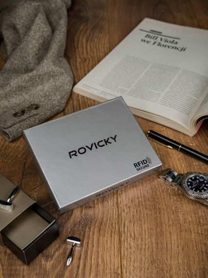 Portfel męski skórzany RFID Rovicky D104-VT2 czarno-niebieski